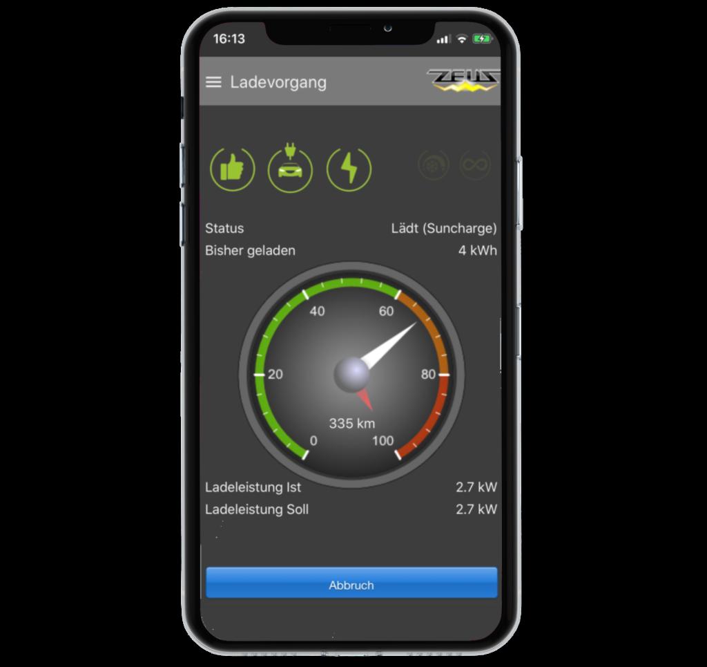 Darstellung eines Ladevorgangs in der mobilen App