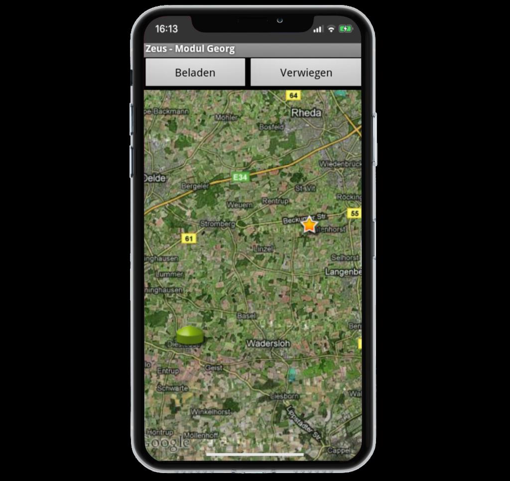 Mobile Positionsanzeige auf der Satellitenkarte